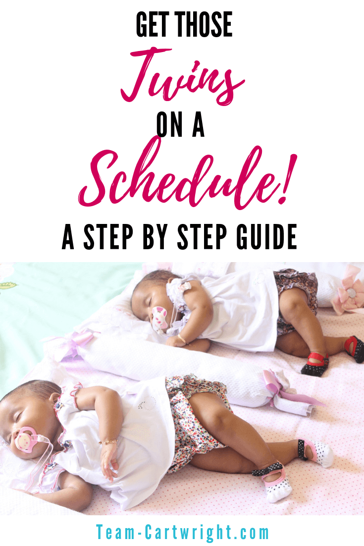 Get those twins on a schedule! Did you hear that a lot when you were pregnant with twins? Well here is how to do just that. Learn how to get your twins on a schedule. #TwinSchedule #TwinGuide #TwinScheduleGuide #TwinTips #TwinScheduleTips #HowToTwins #SameSchedule #babywise #BabywiseTwins Team-Cartwright.com