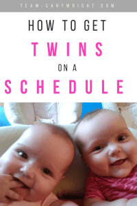 Twin moms are told to get their twins on a schedule. But how? Here is a step by step guide to getting your twins on the same schedule. #twins #newborntwins #schedules #twinschedules #eatwakesleep #babywise #babywisetwins #babywiseschedule #twinfeedingschedule #twinsleepschedule Team-Cartwright.com