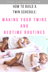 Want your twins to sleep consistently? Get them on a schedule. This is the second step, waking them up. Yep, learn why you need to wake your twins up to get them to sleep. #twinsleep #schedules #twinschedules #babywise #babywiseschedules #waketimes #twinwaketimes Team-Cartwright.com