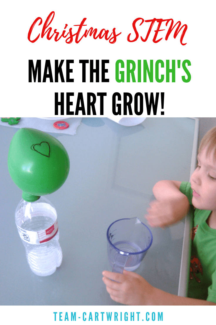 Want to make the Grinch's heart grow three times too big? It's easy! Learn how to make the Grinch's heart grow with this fun and easy Christmas STEM activity. #Grinch #STEM #science #learningactivity #christmasscience #christmasSTEM #christmasactivity #kidchemistry #toddler #preschool #kid #howthegrinchstolechristmas Team-Cartwright.com