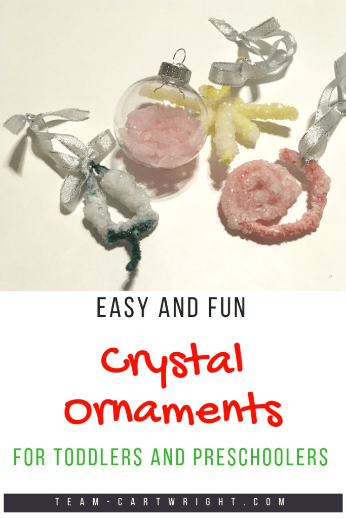 Homemade crystal Christmas ornaments: a fun and easy STEM activity. Learn about crystals and make beautiful ornaments for your Christmas tree. A perfect science learning activity for the holidays! #christmasscience #christmasSTEM #crystals #homemadeornament #familytradition #learningactivity #toddler #preschool #kids Team-Cartwright.com