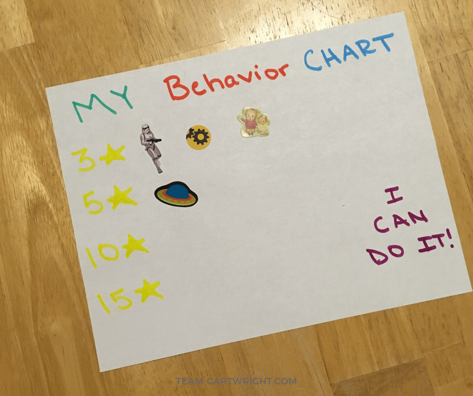 Preschool behavior chart. Learn how we finally found a solution to preschool timeouts. A behavior chart that gives ownership of behavior back to the child. No yelling, no fights, just results. #BehaviorChart #PreschoolBehavior #PreschoolDiscipline Team-Cartwright.com