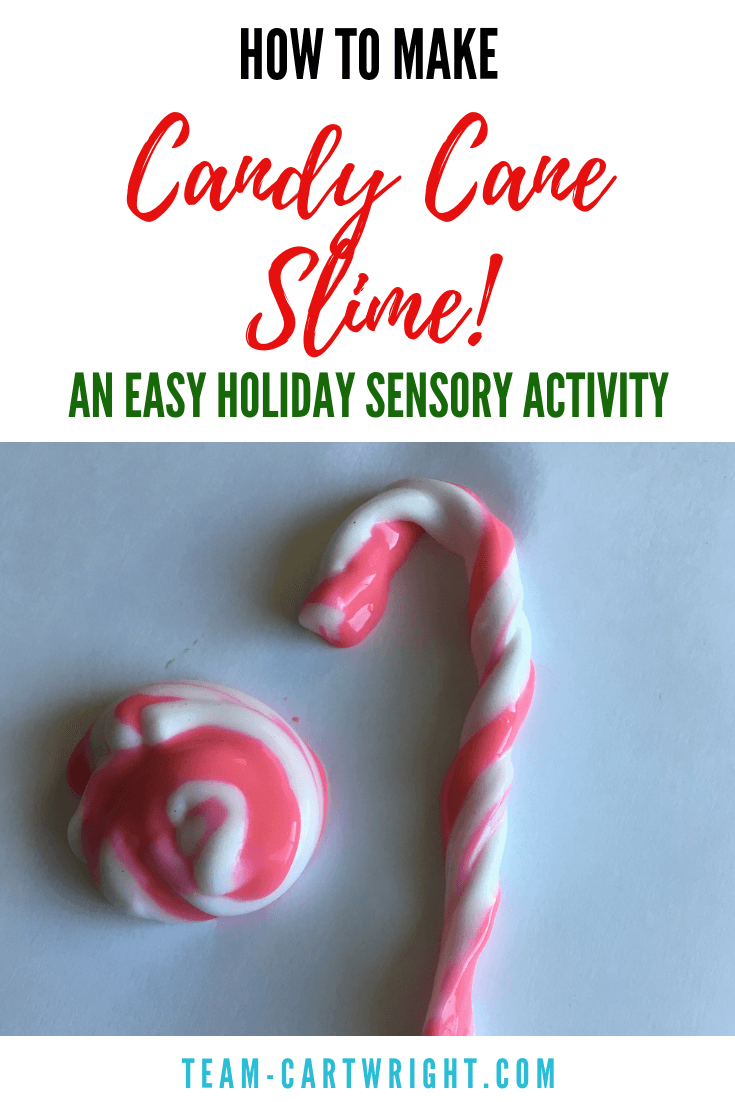 Candy Cane Slime! Learn how to make this fun Christmas Slime plus 6 more! The perfect sensory STEM activity for your kids this holiday. #CandyCaneSlime #ChristmasSlime #SensoryActivity #LearningActivity #toddler #preschool #kids Team-Cartwright.com