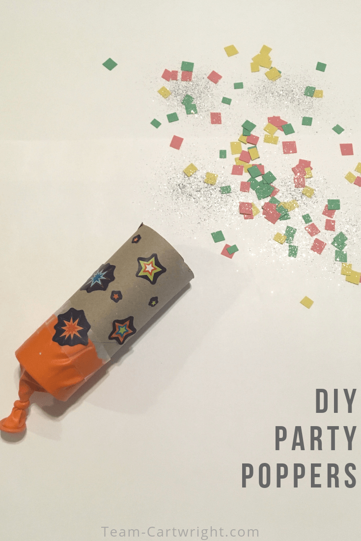 DIY confetti poppers for kids! Learn how to make these easy poppers from at home materials and learn the science behind them. A perfect STEAM project for kids! #STEMActivities #STEM #ConfettiPoppers #GenderReveal #ToddlerLearning #PreschoolLearning Team-Cartwright.com