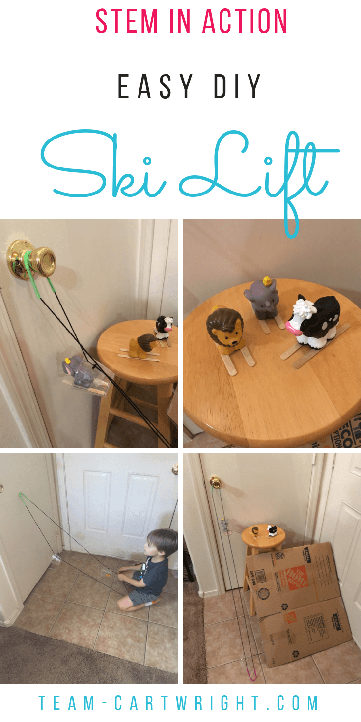 Want to make an indoor ski lift for your kids? It's easy! Create a memorable play station and learn a bit about the physics of simple machines! #SKiGame #SkiToys #Pulley #CreativePlay #IndependentPlay #STEM #Science #Toddler #preschool #homeschool Team-Cartwright.com