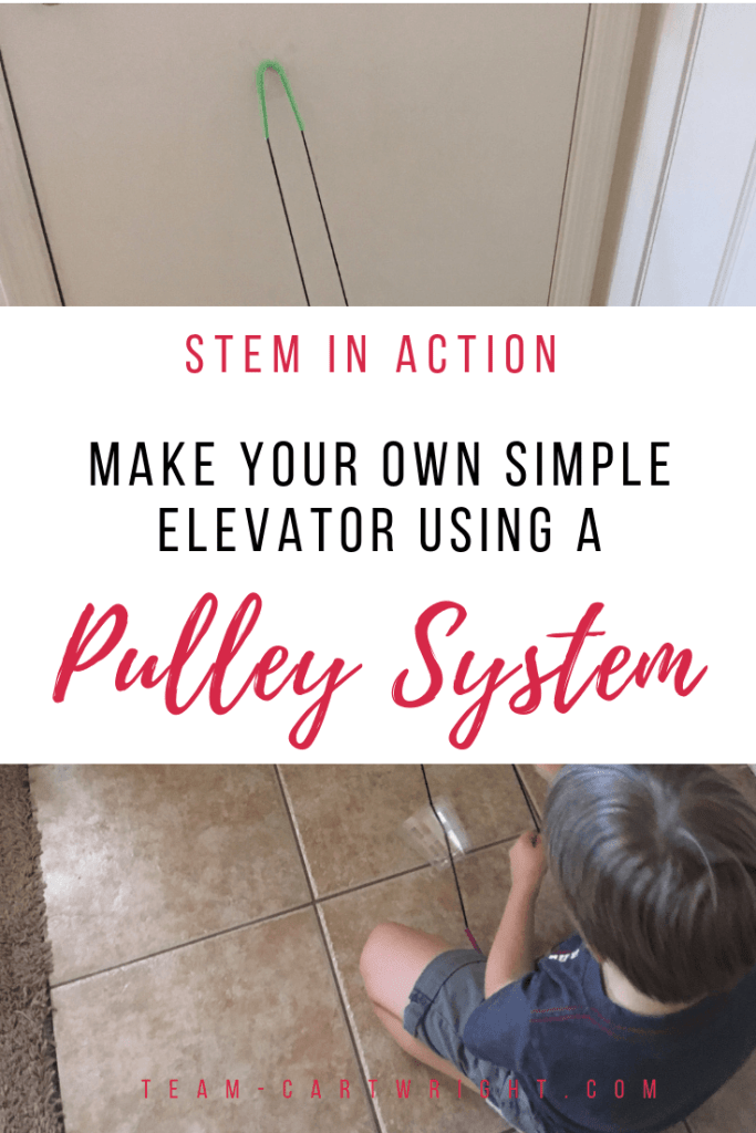 Make your own simple elevator using a pulley system! Learn about physics and simple machines while creating fun open-ended play opportunities! (It's easier than you think.) #FunicularTrain #Pulley #PulleySystem #Physics #SimpleMachines #Toddler #preschool #Homeschool #LearningActivity #STEMActivity #Science Team-Cartwright.com