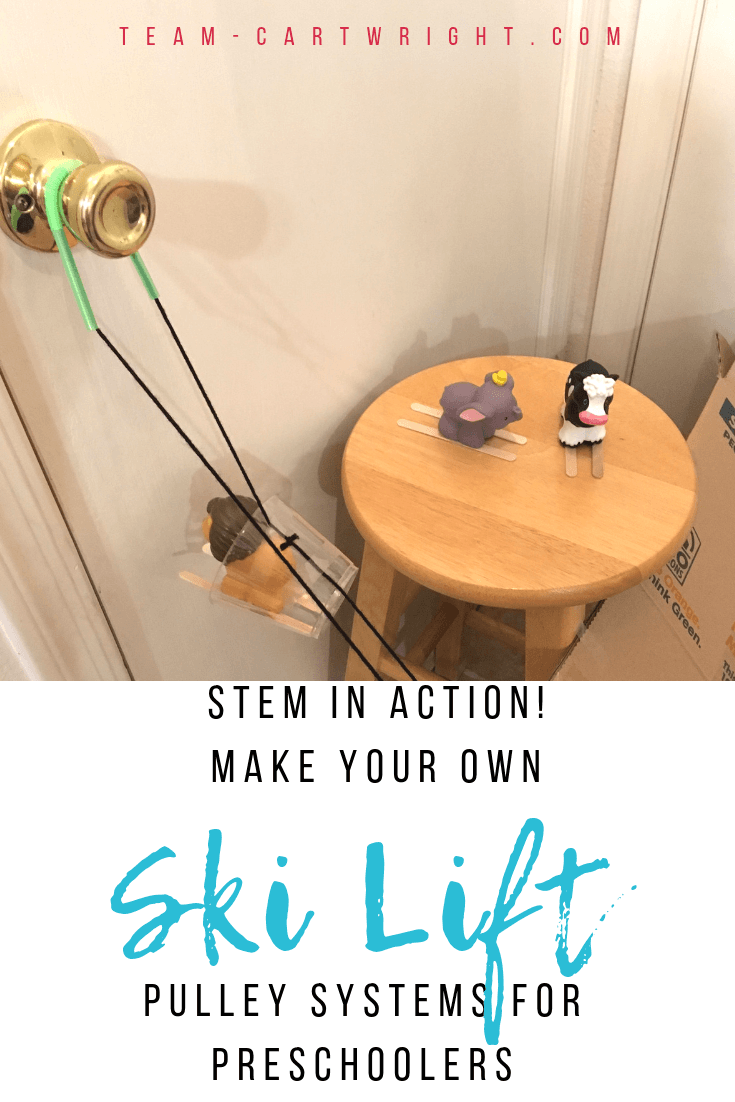 Make a DIY ski lift with your kids! It's easier than you might think. This simple STEM project uses pulleys to lift your skiers up the mountain. Learn about simple machines and have some winter fun! #FunicularTrain #SkiLift #STEM #LearningActivity #Physics #Toddler #Preschool #kids #homeschool #Pulleys #PulleySystems Team-Cartwright.com