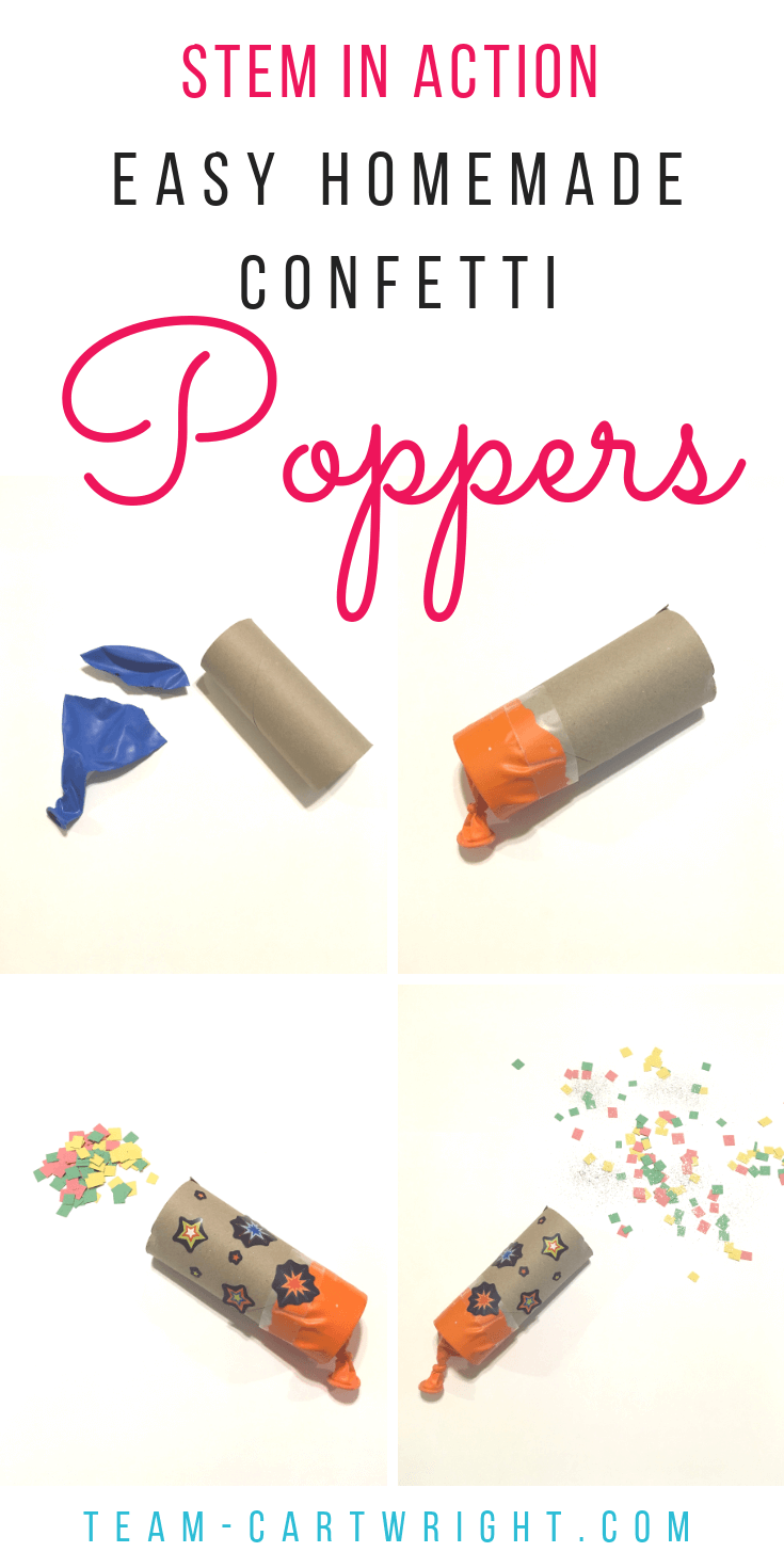 How to make DIY Confetti Poppers! Make this easy science craft with your kids. Learn, create, and have fun! #ArtProject #NewYears #GenderReveal #STEM #ScienceActivity #LearningActivity #ToddlerLearning #BirthdayParty #PartyFavor #PreschoolLearning Team-Cartwright.com