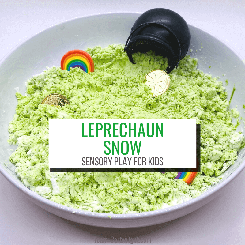 Text: Leprechaun Snow Sensory Play for Kids picture: sensory bin with green leprechaun snow, rainbows, gold coins, and pot of gold