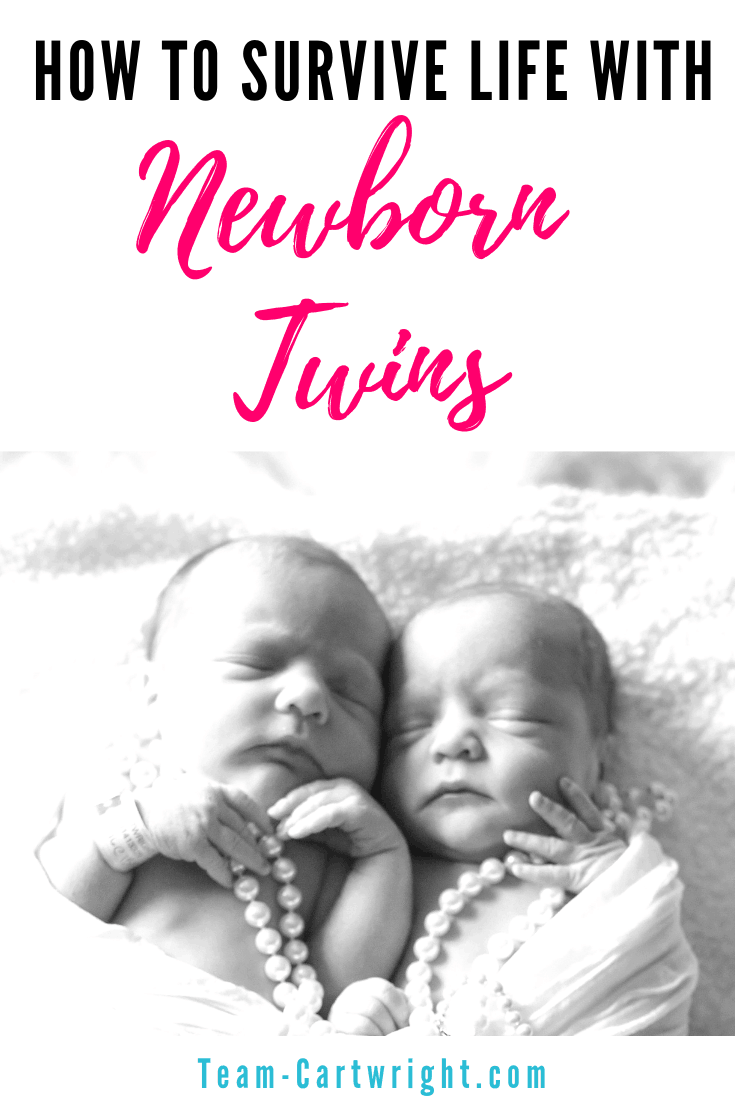 How to survive life with newborn twins. Get simple tips and advice on twin life. Learn what to expect once you are at home from the hospital. What essentials do you need? Can you breastfeed? Will you ever sleep again? Real life advice from a real twim mom. #TwinTips #NewbornTwins #TwinLife Team-Cartwright.com