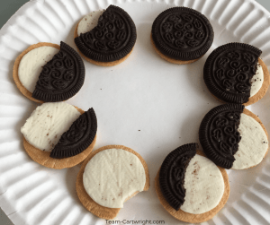 The phases of the moon as made by cookies! Moon activities for preschoolers #MoonSTEM #MoonScience #MoonActivities #MoonPhases Team-Cartwright.com