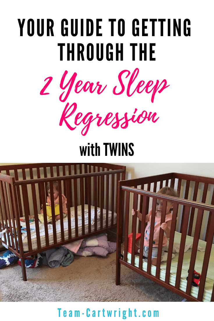 Why aren't my toddler twins sleeping? Having two non-sleepers can be rough. Learn about the 2 year sleep regression and how to get through it. Your twins will sleep again. #2YearSleepRegression #SleepRegression #TwinSleep #ToddlerSleep #NapTrouble #ToddlerTwin #TwinNaps Team-Cartwright.com