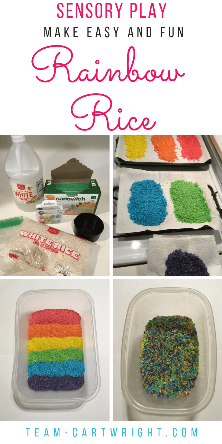 How to dye rainbow rice at home! Make an easy and fun sensory bin for your kids. #SensoryPlay #SensoryBin #RainbowActivity #RainbowLearning #RiceBin #ColoredRice #LearningActivity #Preschool Team-Cartwright.com