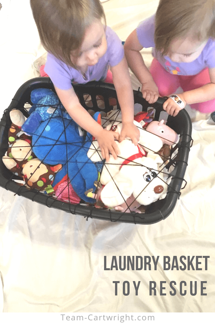 Laundry Basket Toy Rescue! This fun and easy toddler learning activity works gross motor skills, fine motor skills, patience, problem solving, and more. And get more indoor activities for toddlers and preschoolers that parents love! #ToddlerLearningActivities #ToddlerGames #ToddlerLearning #PreschoolLearning #LaundryBasket #DIYToys Team-Cartwright.com