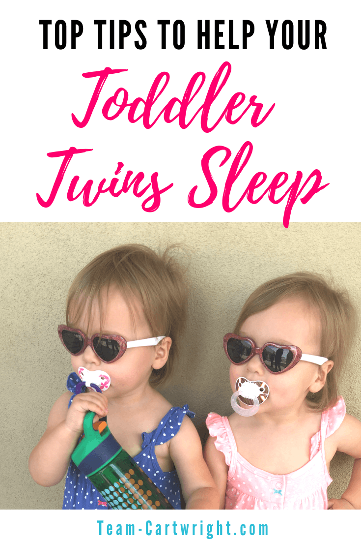 Tips to help your toddler twins sleep. It can be tough to get 2 busy toddlers to settle down and rest. Here are 8 great tips from a real twin mom. Get those twin toddlers back to sleep and get the rest you all need! #TwinSleep #TwinToddler #TwinTips #ToddlerSleep #ToddlerNaps #TwinNaps #TwinTips Team-Cartwright.com