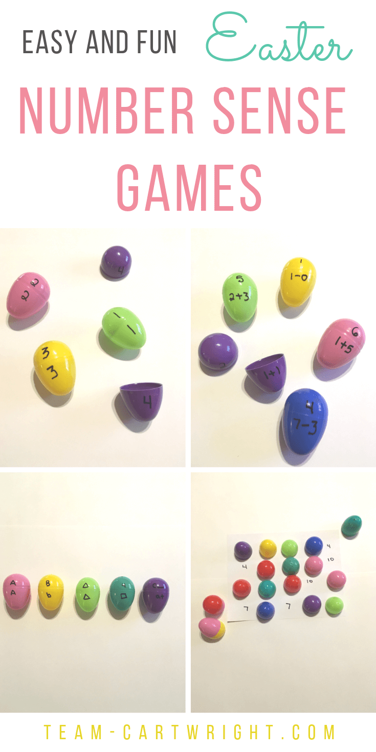 4 Pictures of Easter egg math learning activities with number matching and text overlay: Easy and Fun Easter Number Sense Games