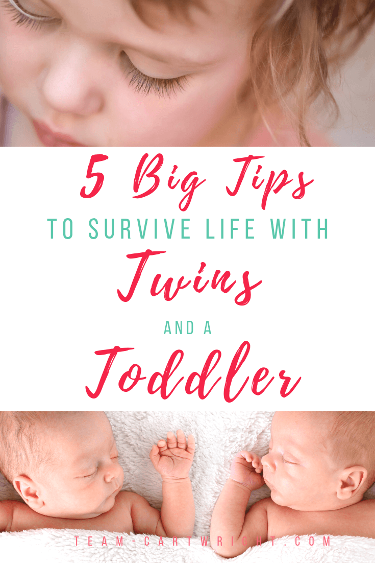 picture of toddler and twins with text overlay 5 big tips to survive life with twins and a toddler