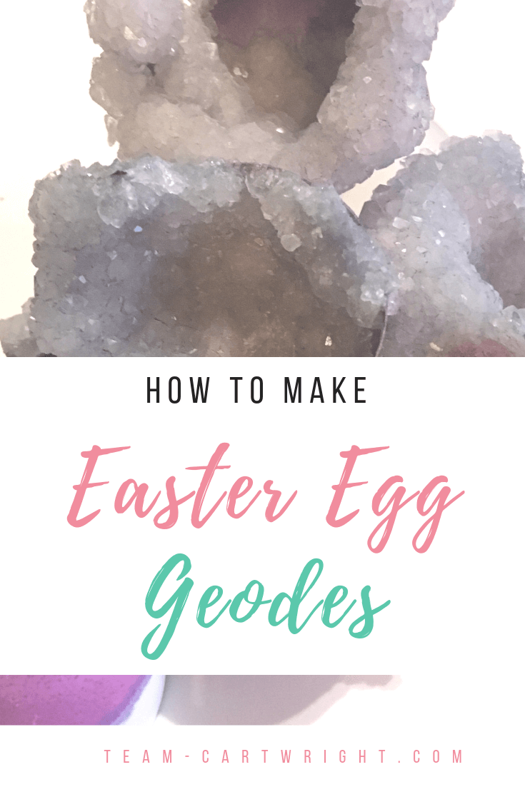 Image of purple crystals with text overlay How To Make Easter Egg Geodes