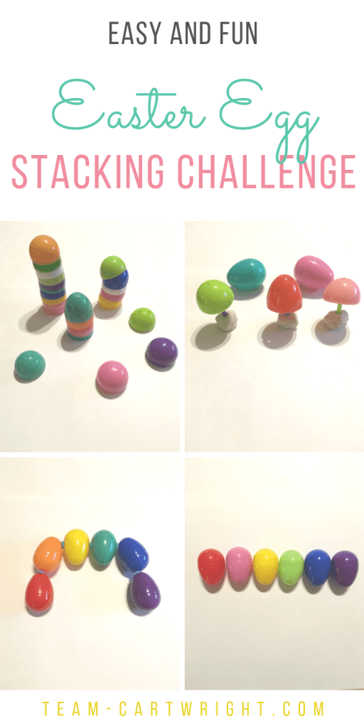 4 pictures of Easter egg stacking games with text overlay: Easy and Fun Easter Egg Stacking Challenge