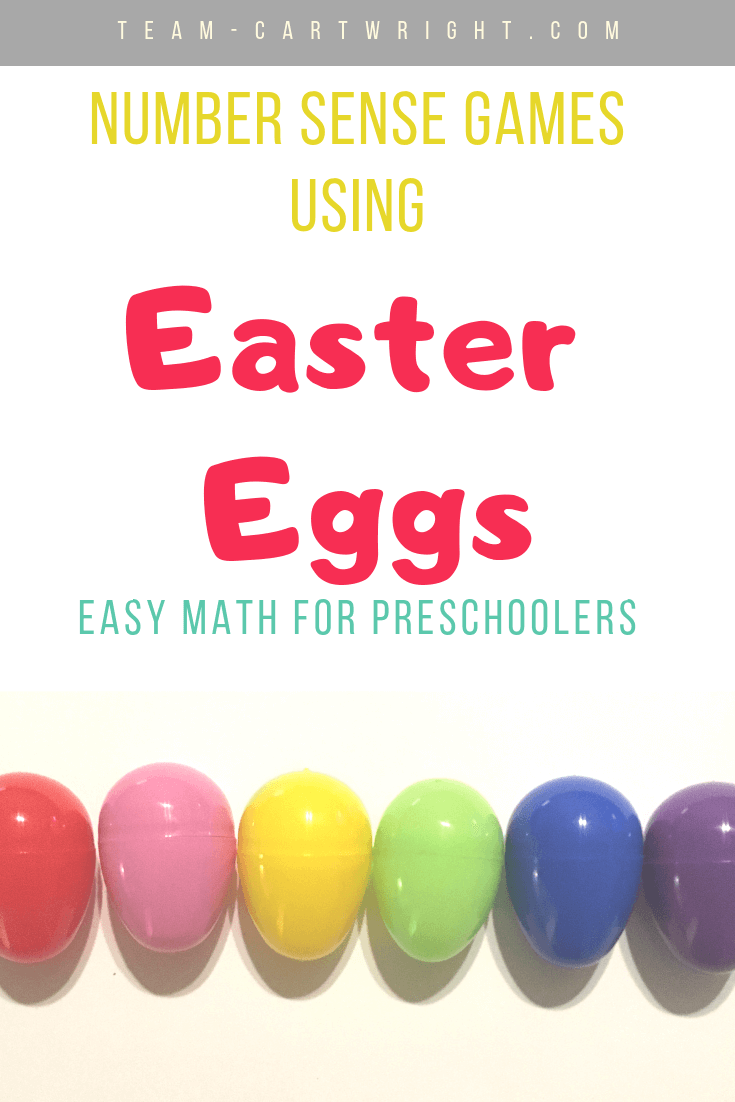 picture of plastic Easter eggs with text overlay: Number Sense Games using Easter Eggs Easy Math for preschoolers