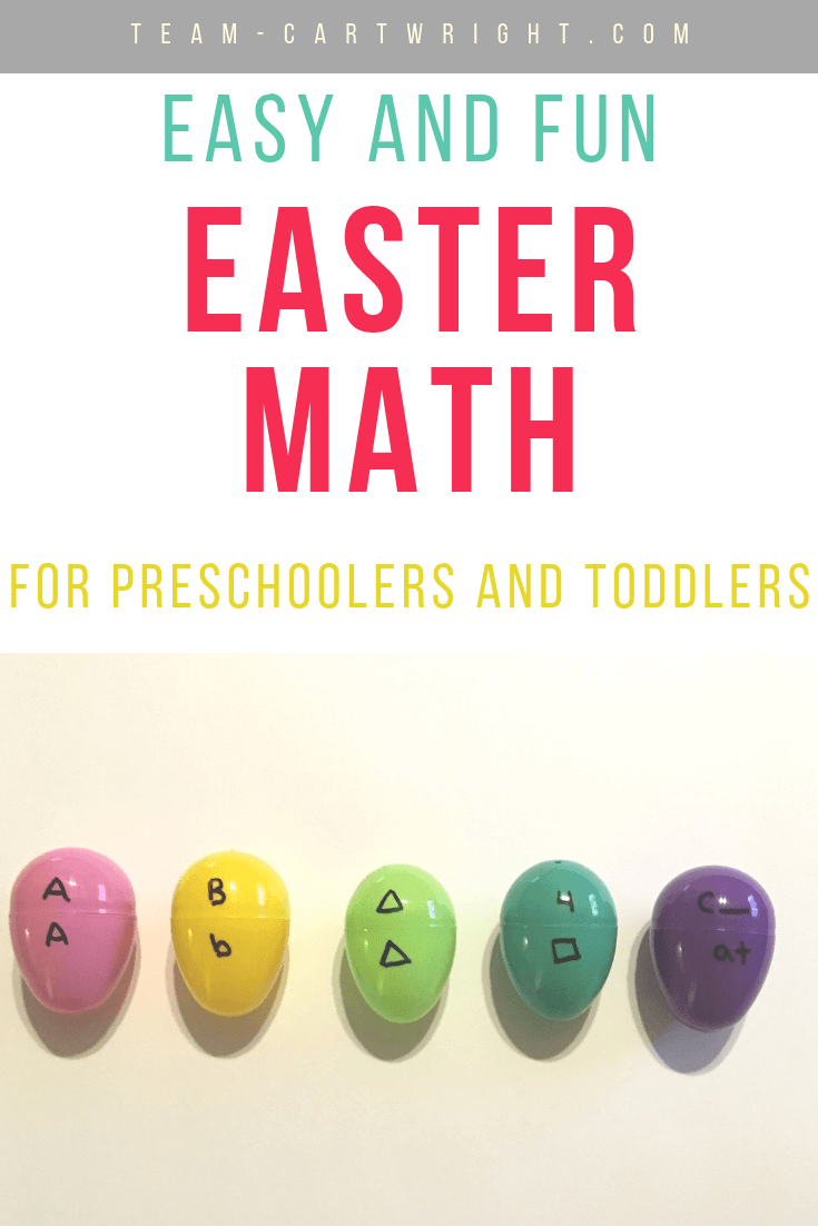 picture of Easter eggs with numbers and letters written on them and text overlay: Easy and Fun Easter Math for preschoolers and toddlers