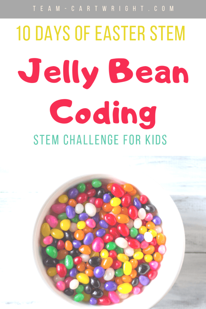 picture of a bowl of jelly beans with text: 10 Days of Easter STEM Jelly Bean Coding STEM challenge for kids