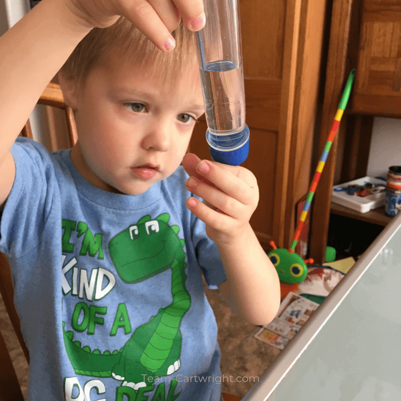 picture of a preschooler looking at a test tube doing STEM