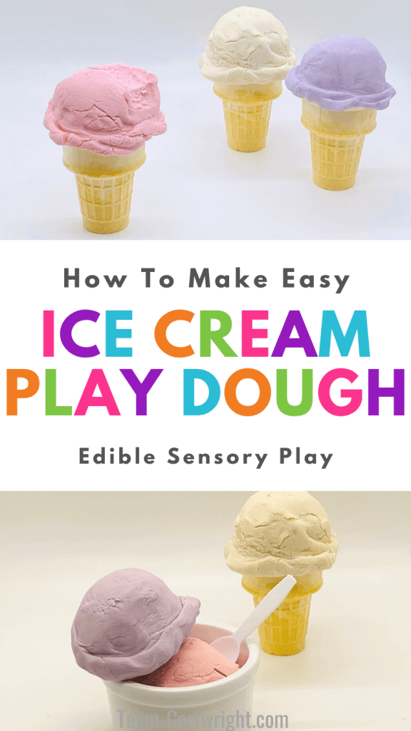 Text: How To Make Easy Ice Cream Play Dough Edible Sensory Play. Top Picture: 3 ice cream cones with scoops of edible play dough in pink, white, and purple. Bottom Picture: Bowl with two scoops of homemade play dough in pink and purple with plastic white spoon and ice cream cone with 2 ingredient play dough in white.