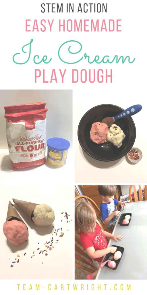 4 pictures with ice cream playdough being made and played with along with text overlay: STEM in action Easy Homemade Ice Cream Play Dough