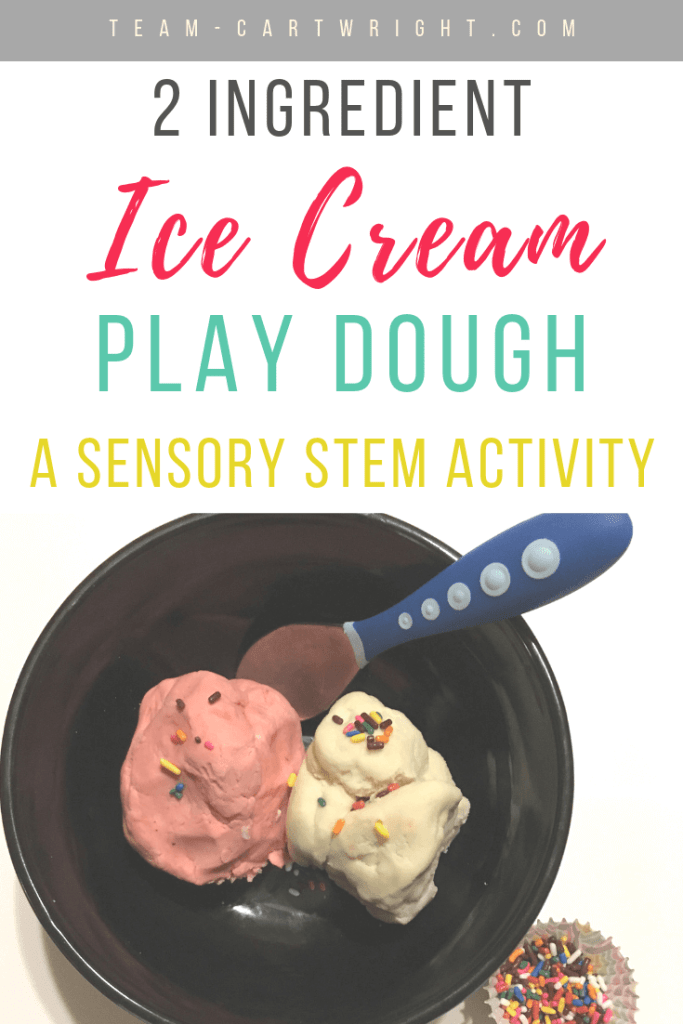 picture of pink and white ice cream playdough with blue spoon in black bowl with text 2 Ingredient Ice Cream Play Dough a Sensory STEM Activity