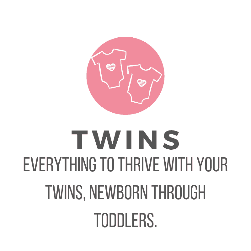 picture of pink circle with two white onesies and text: Twins: Everything to thrive with your twins, newborn through toddlers