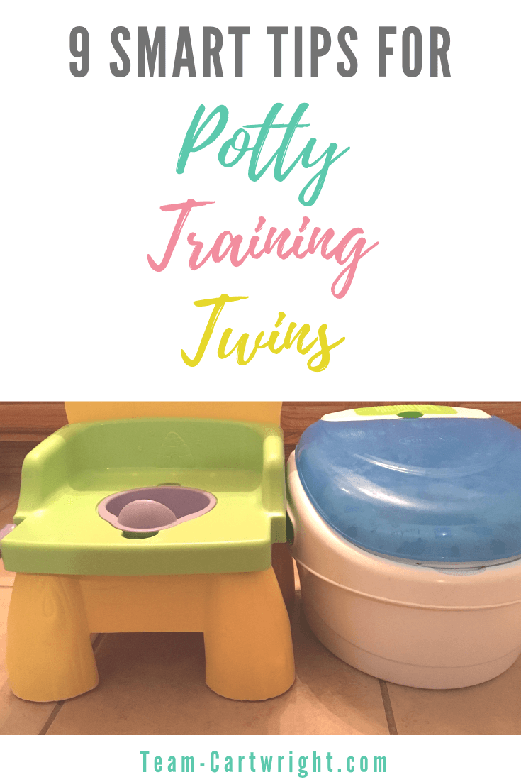 picture of two toddler potties with text: 9 smart tips for potty training twins