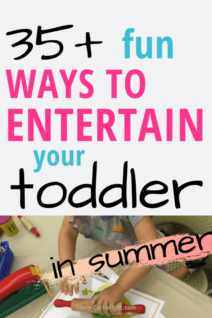 35+ Ways to Entertain your Toddler in Summer with picture of a toddler playing a sensory game