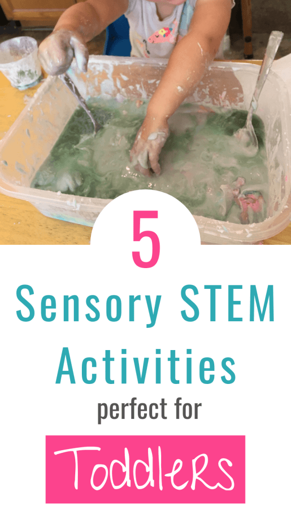 picture of a toddler doing a sensory activity with text: 5 Sensory STEM Activities perfect for Toddlers