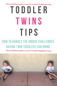 picture of twins sitting against a wall with text overlay: Toddler Twins Tips How to handle the unique challenges having twin toddlers can bring
