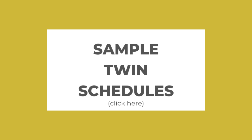 gold block with text: Sample Twin Schedule (click here)