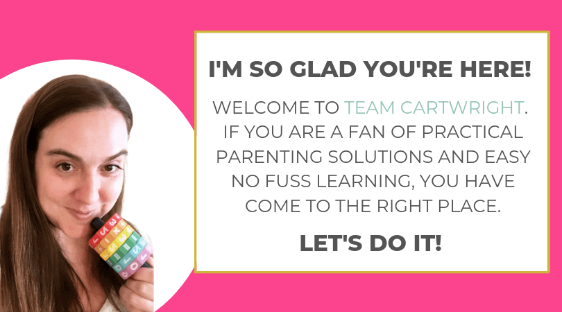 picture of Kim and text box: I'm so glad you're here!  Welcome to Team Cartwright.  If you are a fan of practical parenting solutions and easy no fun learning, you have come to the right place.  Let's do it!