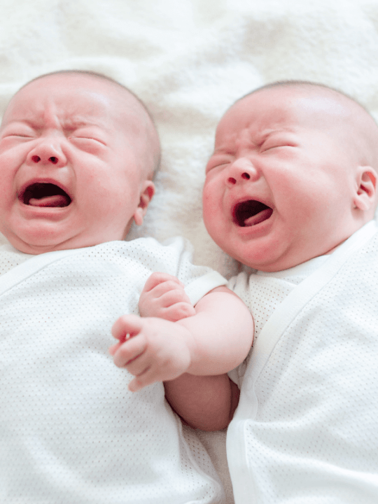 picture of twin babies crying