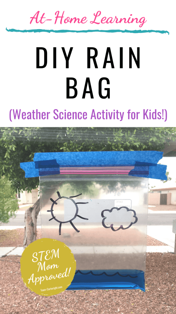 DIY rain bag weather science experiment for kids