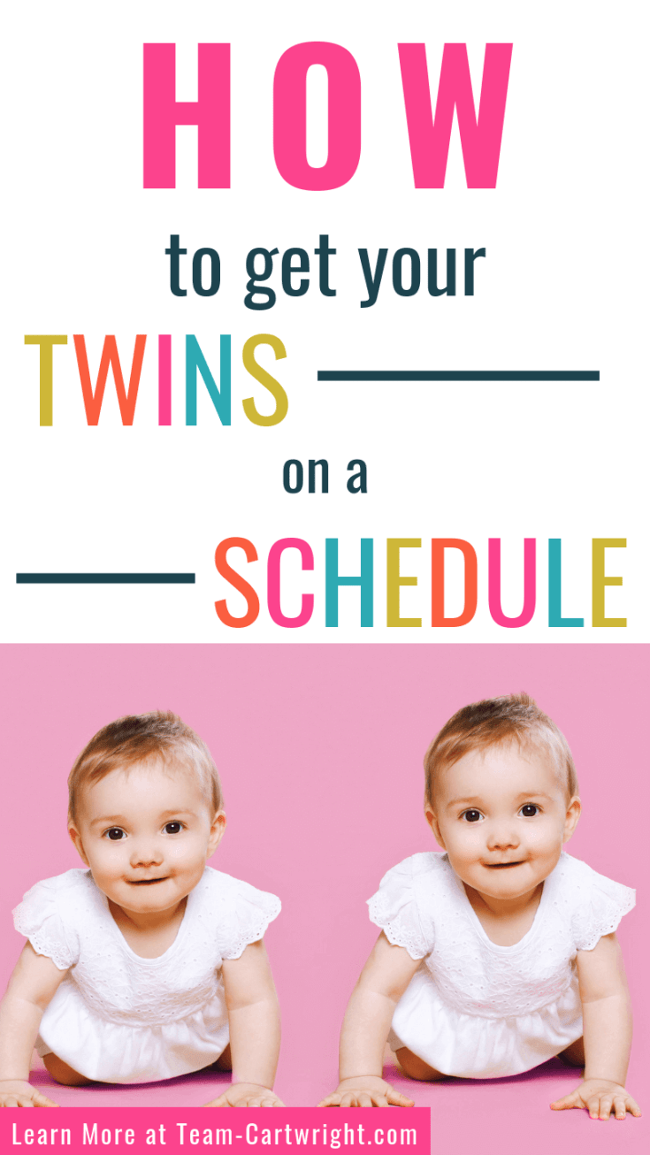 Get the step by step guide to getting your twins on a schedule.  Simple steps you can start from day one that will help you build a schedule that works for your family.  #twins #twinmom #twintips raisingtwins #babytwins #twinschedule #scheduletips #babywise #babywisetwins Team-Cartwright.com