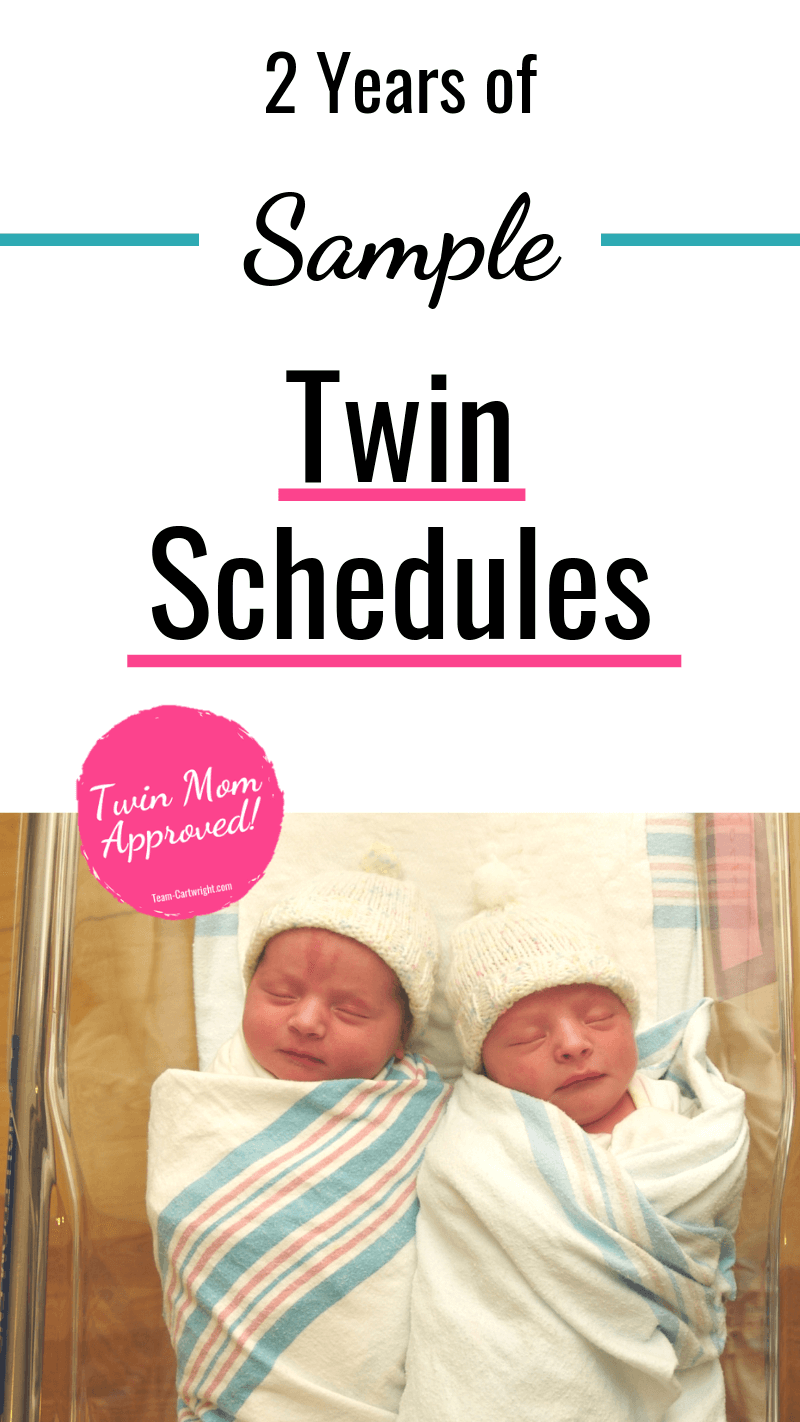 picture of newborn twins with text: 2 Years of Sample Twin Schedules