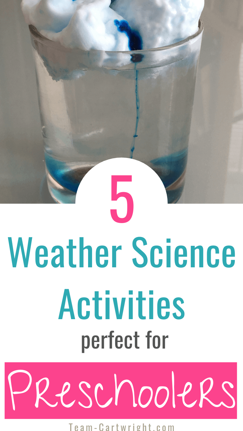 picture of shaving cream rain clouds with text 5 weather science activities perfect for preschoolers