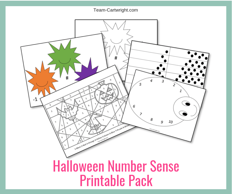 Halloween Number Sense Printable Worksheets