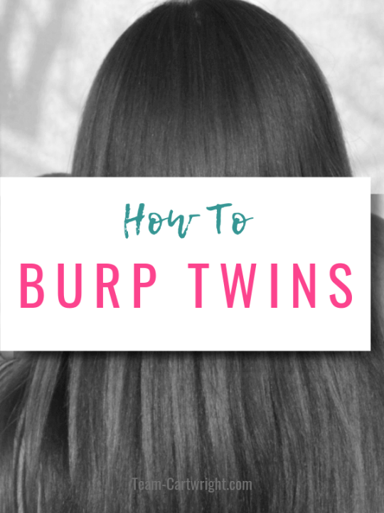 How To Burp Twins picture of mom holding newborn twins