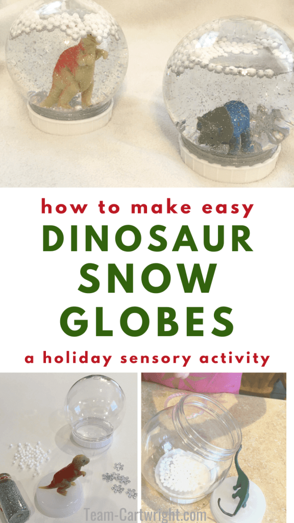 how to make easy dinosaur snow gloves a holiday sensory activity