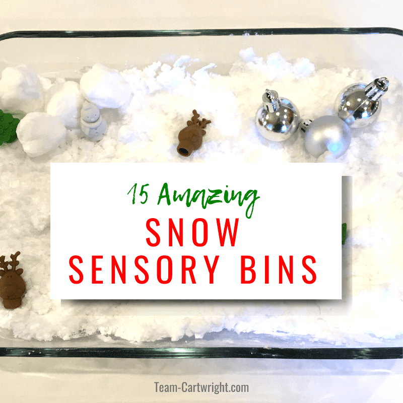 15 Amazing Snow Sensory Bins with picture of bin with fake snow and toys.