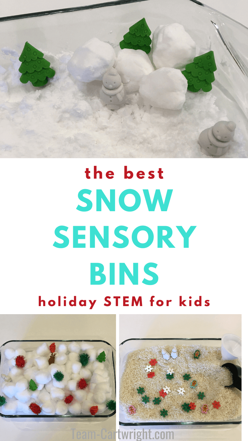 The Best Snow Sensory Bins: Holiday STEM for Kids with pictures of 3 snow sensory bins