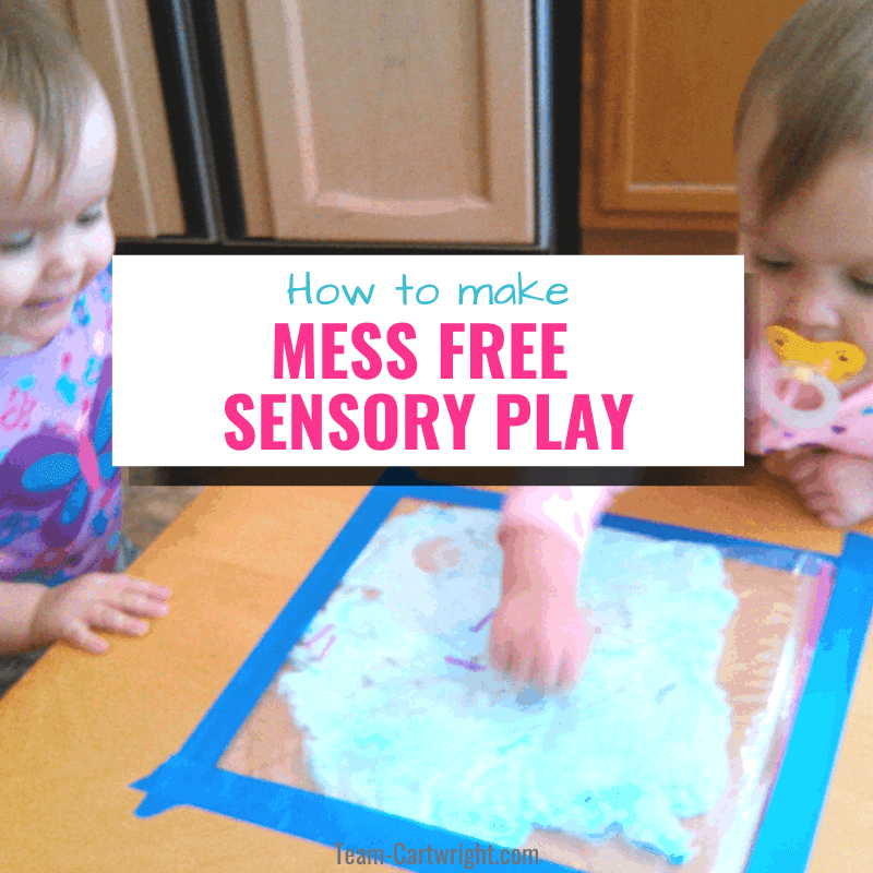 how to make mess free sensory play with picture of toddlers playing with mess free shaving cream