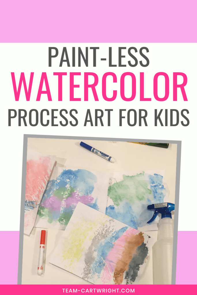 Paint-less watercolor process art for kids with picture of water colors