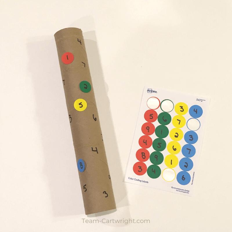 Paper Towel Tube DIY Number Game